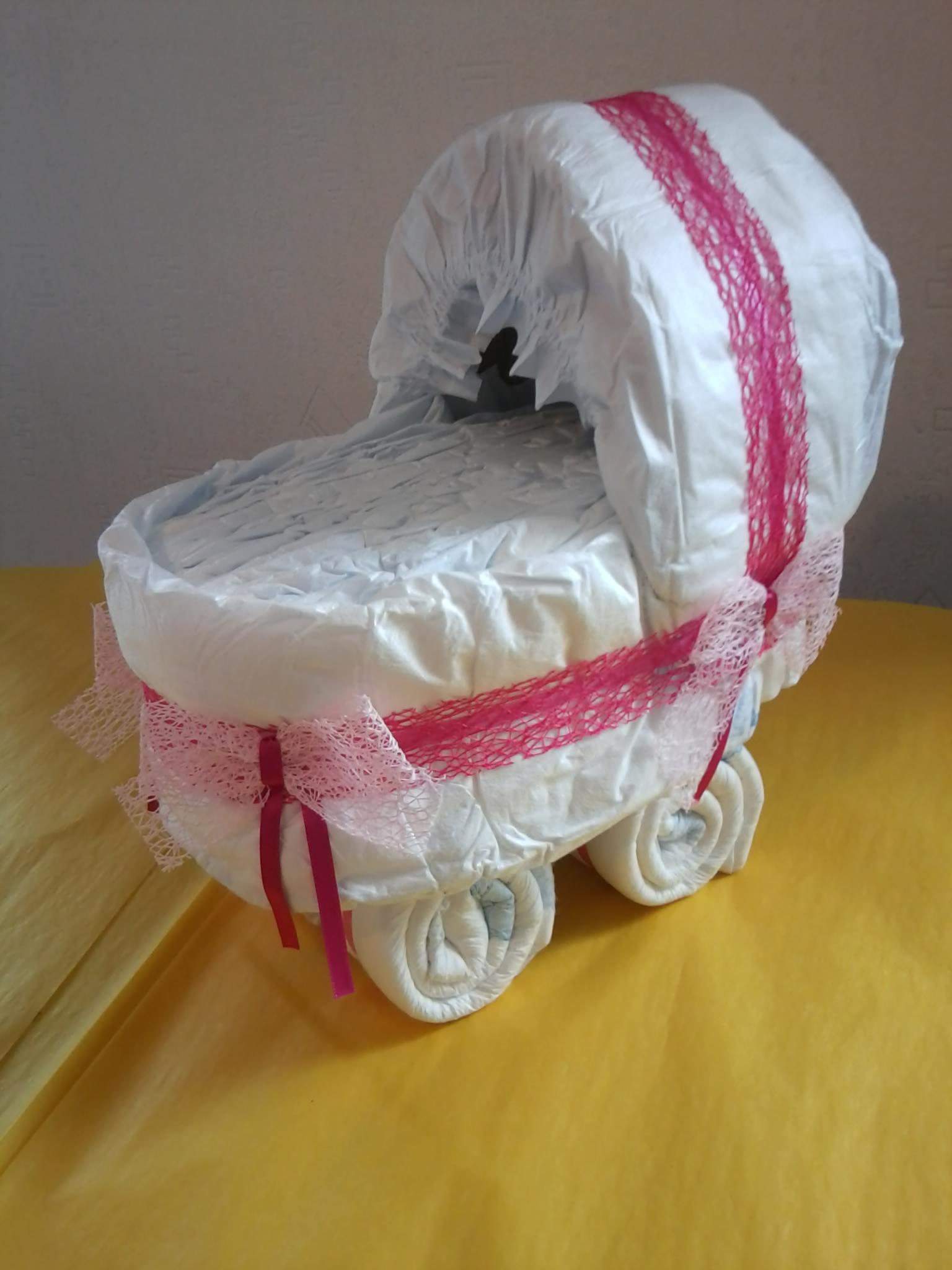 Toutacroquer landau en couches pour petite fille - Gateau de couches garcon comment faire ...
